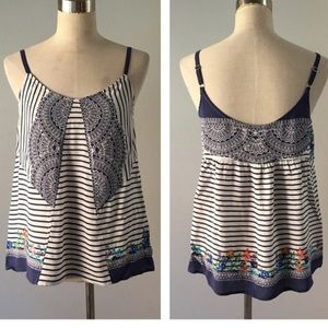 CABI BLUE/WHT STRIPED FLORAL TANK